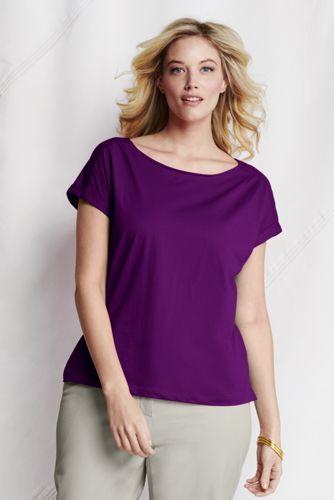 Women's Plus Lightweight Jersey Boat Neck T-shirt
