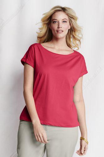 Le T-Shirt Col Bateau en Coton Jersey Léger Femme, Grande Taille