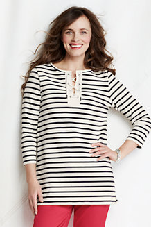 Women's  Striped Lace-up Tunic
