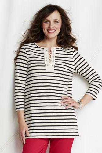 Gestreifte Jersey-Tunika mit Blenden-Bändchenzug für Damen