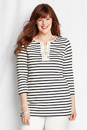 Women's 3/4-sleeve Heavyweight Jersey Lace-up Tunic