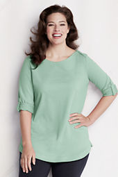 Women's Starfish Elbow Sleeve Terry Boatneck Top