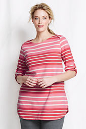 Women's Elbow Sleeve Stripe Starfish Terry Boatneck Top
