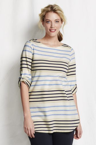 Women's Plus Striped  Elbow Sleeve Boatneck Tunic