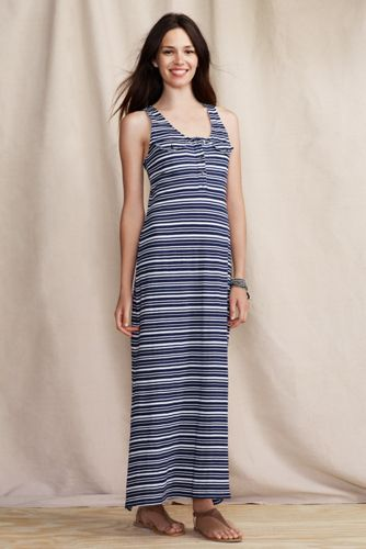 Women's French Terry Maxi Dress  - Aged Navy Stripe, S