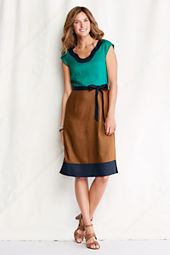 Women's Short Sleeve Linen Colorblock Dress