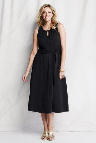 Women's Plus Plain Midi Length Jersey Keyhole Dress