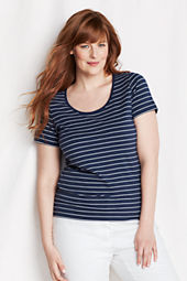Women's Short Sleeve Stripe Lightweight Cotton Modal Scoop Top