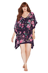 Women's Plus Size Rose Floral Chiffon Poncho Cover-up