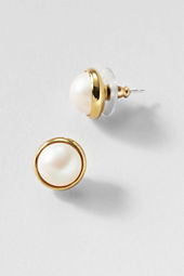 Women's Pearl Button Earrings