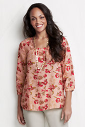 Women's Three-quarter sleeve Square Neck Patterned Linen Tunic