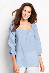 Women's Three-quarter sleeve Square Neck Linen unic