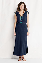 Women's Slub French Terry Tie Shoulder Maxi Dress