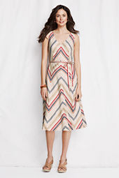 Women's V-neck Stripe Linen Dress
