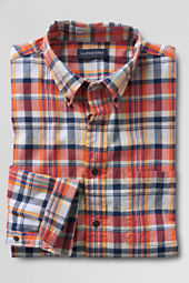 Men's Long Sleeve Cadmium Orange Madras Shirt