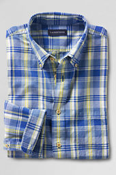Men's Long Sleeve Retro Blue Madras Shirt