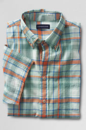 Men's Short Sleeve Spring Green Madras Shirt
