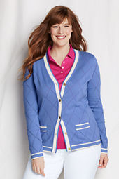 Women's Combed Cotton Pointelle V-neck Argyle Cardigan