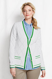 Women's Plus Cotton Pointelle Argyle Cardigan