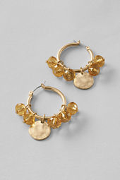Women's Coin Charm Hoop Earrings