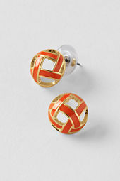 Women's Enamel Stud Button Earrings