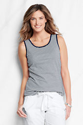 Women's Stripe Cotton Interlock Basic Tank Top