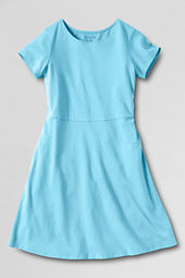 Girls' Short Sleeve Solid A-line Dress