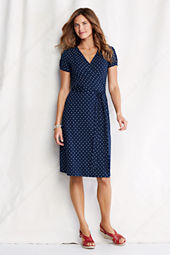 Women's Short Sleeve Pattern Cotton Modal Wrap Dress