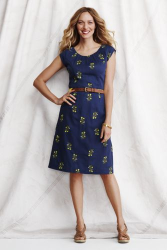 Women's Regular Cap Sleeve Embroidered Dress - Celestial Blue Floral, 16