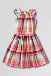 Girls' Madras Shirred Dress