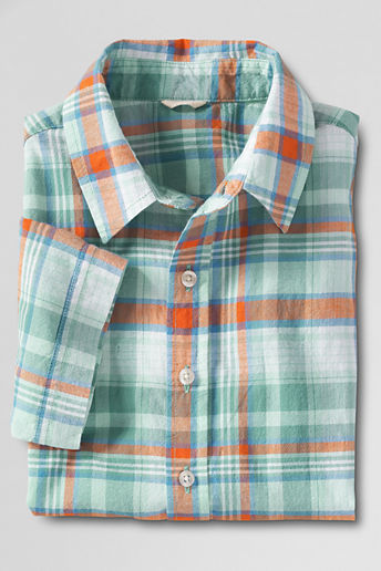 Boys' Short Sleeve Madras Shirt - Spring Green Plaid, L