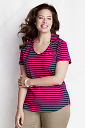 Women's Plus Size Short Sleeve Stripe Supima Collared V-neck Polo