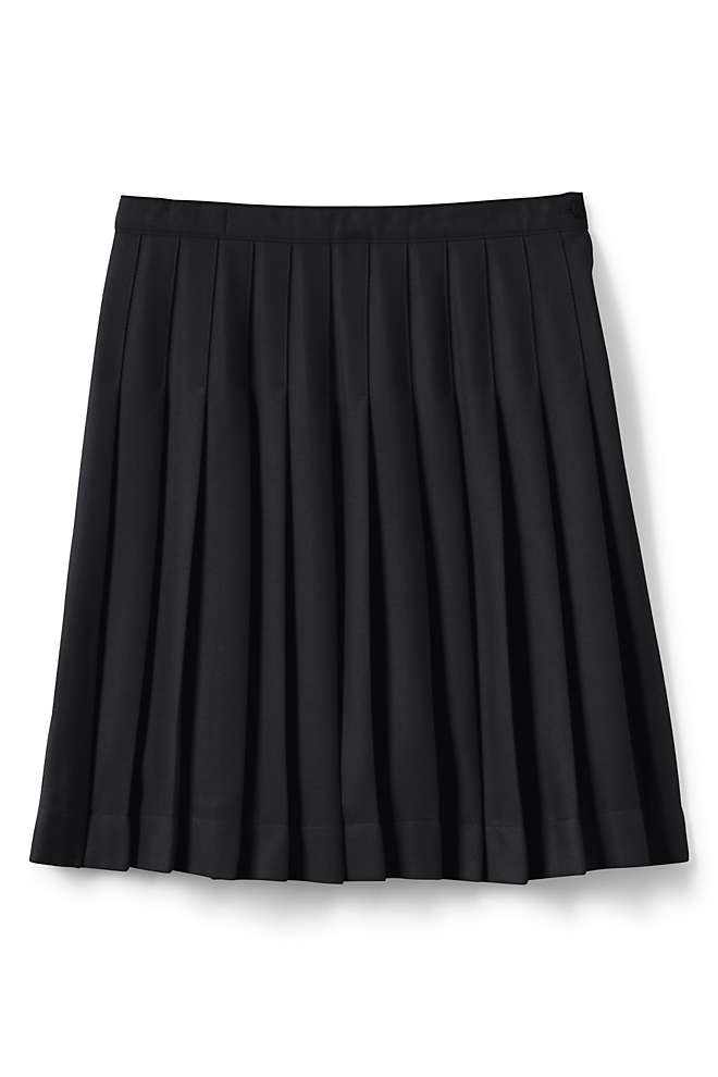 School Uniform Little Girls Solid Pleated Skirt Below the Knee, Front