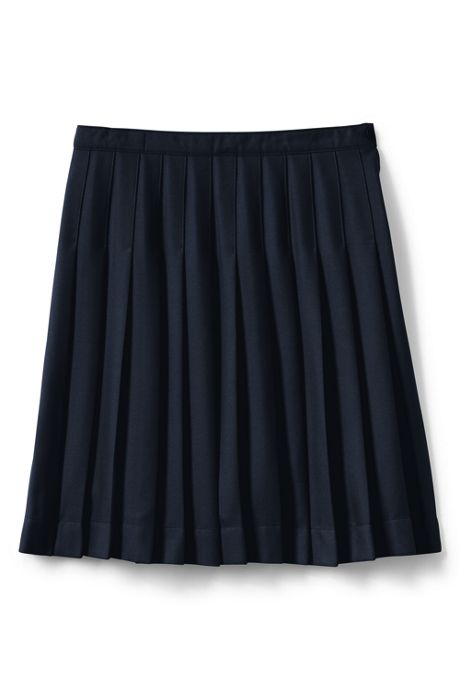 School Uniform Girls Solid Pleated Skirt Below the Knee