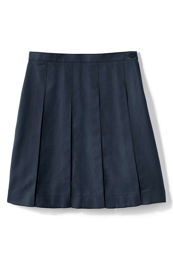 Little Girls Solid Box Pleat Skirt Below the Knee, Front