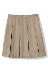 School Uniform Girls Solid Box Pleat Skirt Below the Knee