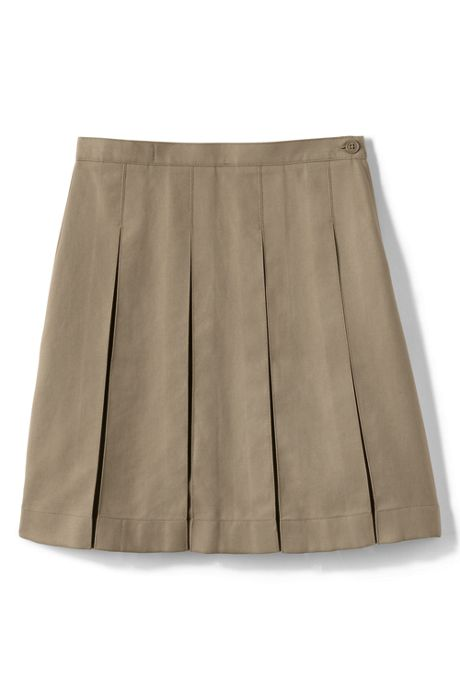 School Uniform Little Girls Solid Box Pleat Skirt Below the Knee