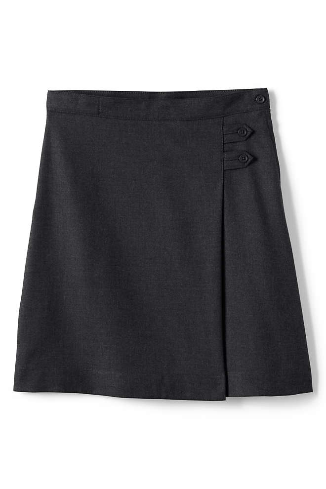 School Uniform Girls Solid A-line Skirt Below the Knee, Front