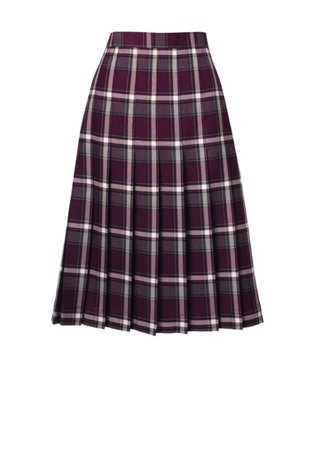 School Uniform Women's Plaid Pleated Skirt Below the Knee
