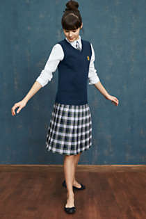 Girls Plaid Pleated Skirt Below the Knee, alternative image