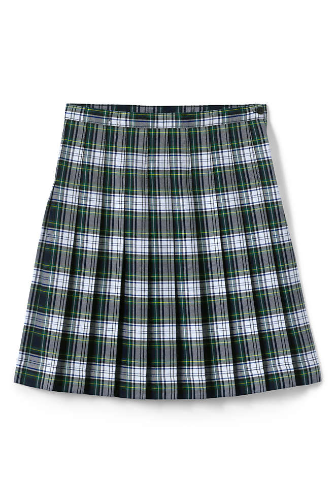 Girls Plaid Pleated Skirt Below the Knee, Front