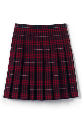 Women's Plaid Pleated Skirt (Below The Knee) - Classic Navy Large Plaid, 10