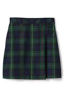 School Uniform Girls Plaid A-line Skirt Below the Knee, Front