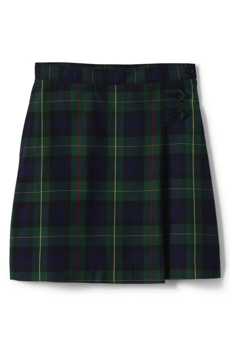 School Uniform Girls Slim Plaid A-line Skirt Below the Knee
