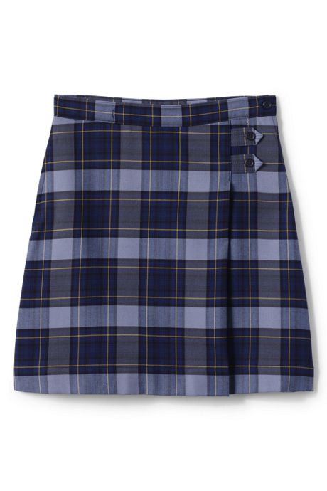 School Uniform Girls Plus Plaid A-line Skirt Below the Knee