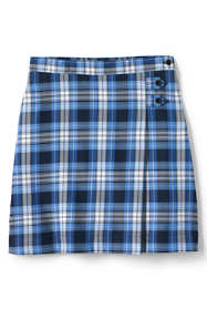 Girls Slim Plaid A-line Skirt Below the Knee