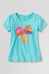 Girls' Picot Edge Ice Cream Heart Graphic Tee