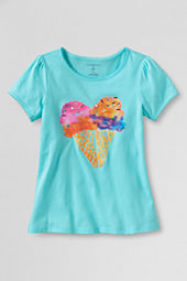 Girls' Picot Edge Ice Cream Heart Graphic T-shirt