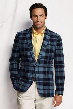 Linen Soft Tailored Jacket 431041: Indigo Check