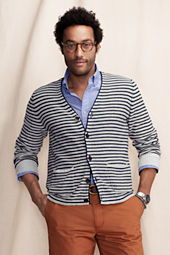 Men's Cotton Linen Striped Cardigan